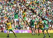 24 June 2018; Ryan Jones of Fermanagh in action against Ryan McHugh of Donegal during the Ulster GAA Football Senior Championship Final match between Donegal and Fermanagh at St Tiernach's Park in Clones, Monaghan. Photo by Oliver McVeigh/Sportsfile