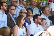 24 June 2018; DUP leader Arlene Foster, centre, and Heather Humphreys TD, sitting in the stands for the Ulster GAA Football Senior Championship Final match between Donegal and Fermanagh at St Tiernach's Park in Clones, Monaghan. Photo by Oliver McVeigh/Sportsfile