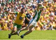 24 June 2018; Eoin Donnelly of Fermanagh  in action against Paul Brennan of Donegal during the Ulster GAA Football Senior Championship Final match between Donegal and Fermanagh at St Tiernach's Park in Clones, Monaghan. Photo by Oliver McVeigh/Sportsfile