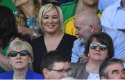 24 June 2018; Heather Humphreys T.D, Sinn Fein MLA Michelle O'Neill and DUP leader Arlene Foster during the Ulster GAA Football Senior Championship Final match between Donegal and Fermanagh at St Tiernach's Park in Clones, Monaghan. Photo by Ramsey Cardy/Sportsfile