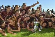 24 June 2018; Galway players celebrate with the trophy following their side's victory during the TG4 Connacht Ladies Senior Football Final match between Mayo and Galway at Elvery's MacHale Park in Castlebar, Mayo. Photo by Seb Daly/Sportsfile