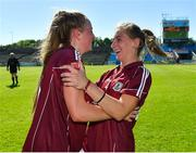 24 June 2018; Ailbhe Davoren, left, and Sinead Burke of Galway celebrate following their side's victory during the TG4 Connacht Ladies Senior Football Final match between Mayo and Galway at Elvery's MacHale Park in Castlebar, Mayo. Photo by Seb Daly/Sportsfile