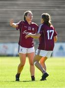 24 June 2018; Caitriona Cormican, left, and Noelle Connolly of Galway celebrate following their side's victory during the TG4 Connacht Ladies Senior Football Final match between Mayo and Galway at Elvery's MacHale Park in Castlebar, Mayo. Photo by Seb Daly/Sportsfile