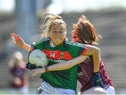 24 June 2018; Sarah Rowe of Mayo in action against Sarah Lynch of Galway during the TG4 Connacht Ladies Senior Football Final match between Mayo and Galway at Elvery's MacHale Park in Castlebar, Mayo. Photo by Seb Daly/Sportsfile