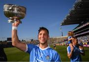 24 June 2018; Dublin captain Jonny Cooper celebrates with the Delaney Cup following the Leinster GAA Football Senior Championship Final match between Dublin and Laois at Croke Park in Dublin. Photo by Stephen McCarthy/Sportsfile