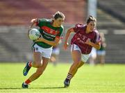 24 June 2018; Grace Kelly of Mayo in action against Fabienne Cooney of Galway during the TG4 Connacht Ladies Senior Football Final match between Mayo and Galway at Elvery's MacHale Park in Castlebar, Mayo. Photo by Seb Daly/Sportsfile