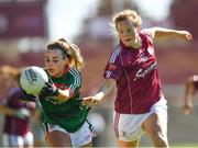 24 June 2018; Emma Lowther of Mayo in action against Sarah Conneally of Galway during the TG4 Connacht Ladies Senior Football Final match between Mayo and Galway at Elvery's MacHale Park in Castlebar, Mayo. Photo by Seb Daly/Sportsfile
