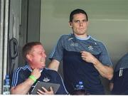24 June 2018; Injured Dublin captain Stephen Cluxton, right, and Chris Farrell Dublin Performance Video Analyst, prior to the Leinster GAA Football Senior Championship Final match between Dublin and Laois at Croke Park in Dublin. Photo by Stephen McCarthy/Sportsfile