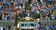 24 June 2018; Dublin captain Jonny Cooper lifts the Delaney Cup after the Leinster GAA Football Senior Championship Final match between Dublin and Laois at Croke Park in Dublin. Photo by Daire Brennan/Sportsfile