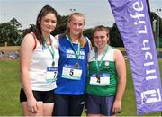 23 June 2018; Girls Shot Putt 3.00kg medallists, from left, Casey Mulvey of St.Clare's College, Ballyjamesduff, Co. Cavan, silver, Ciara Sheeny of St. Mary's Secondary School, Co.Cork, gold, and Aoibhinn McMahon of St Vincent's Secondary School, Dundalk, Co. Louth, bronze, during the Irish Life Health Tailteann Games T&F Championships at Morton Stadium, in Santry, Dublin. Photo by Tomás Greally/Sportsfile