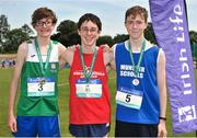 23 June 2018; Boys 3000m Walk medallists, from left, Matthew Glennan of St. Finian's  Mullingar, Co. Westmeath, silver, Oisin Lane of Mercy SS Ballymahon, Co. Longford, gold, and Ciaran O'Muirhile of Gaelcholaiste Mhuire AG, Co. Cork, bronze, during the Irish Life Health Tailteann Games T&F Championships at Morton Stadium, in Santry, Dublin. Photo by Tomás Greally/Sportsfile