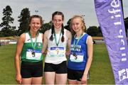 23 June 2018; Girls 300m medallists, from left, Caoimhe Cronin of Coláiste Cois Life, Dublin, silver, Rachel McCann of Sullivan Upper School, Holywood, Co. Down, gold, and Ailbhe Doherty of St Flannan's College, Co. Clare, bronze, during the Irish Life Health Tailteann Games T&F Championships at Morton Stadium, in Santry, Dublin. Photo by Tomás Greally/Sportsfile