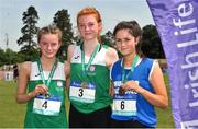 23 June 2018; Girls 3000m Walk medallists, from left, Jennifer Fidgeon of Loreto Mullingar, Co. Westmeath, silver, Emily MacHugh of St. Marys Naas, Co. Kildare, gold, and Siofa O'Dea of St Joseph's Spanish Point, Co. Clare, bronze, during the Irish Life Health Tailteann Games T&F Championships at Morton Stadium, in Santry, Dublin. Photo by Tomás Greally/Sportsfile