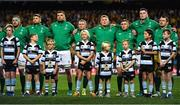 23 June 2018; Ireland players, from left, Rob Herring, Ross Byrne, Tadhg Beirne, Keith Earls, Tadhg Furlong, Jordan Larmour, James Ryan and Cian Healy line up for the national anthem prior to the 2018 Mitsubishi Estate Ireland Series 3rd Test match between Australia and Ireland at Allianz Stadium in Sydney, Australia. Photo by Brendan Moran/Sportsfile