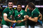 23 June 2018; Ireland players Jonathan Sexton, Bundee Aki and Jordi Murphy celebrate after the 2018 Mitsubishi Estate Ireland Series 3rd Test match between Australia and Ireland at Allianz Stadium in Sydney, Australia. Photo by Brendan Moran/Sportsfile
