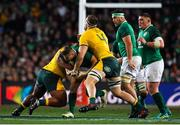 23 June 2018; Jordan Larmour of Ireland is tackled by Lukhan Tui and Izack Rodda of Australia during the 2018 Mitsubishi Estate Ireland Series 3rd Test match between Australia and Ireland at Allianz Stadium in Sydney, Australia. Photo by Brendan Moran/Sportsfile
