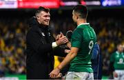 23 June 2018; Ireland captain Peter O'Mahony, left, with Conor Murray after the 2018 Mitsubishi Estate Ireland Series 3rd Test match between Australia and Ireland at Allianz Stadium in Sydney, Australia. Photo by Brendan Moran/Sportsfile
