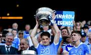 24 June 2018; Eric Lowndes of Dublin lifts the Delaney Cup following the Leinster GAA Football Senior Championship Final match between Dublin and Laois at Croke Park in Dublin. Photo by Stephen McCarthy/Sportsfile