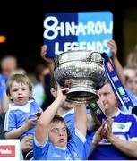 24 June 2018; Matthew Rock, cousin of Dublin footballer Dean Rock, lifts the Delaney Cup following the Leinster GAA Football Senior Championship Final match between Dublin and Laois at Croke Park in Dublin. Photo by Stephen McCarthy/Sportsfile
