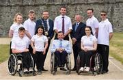 26 June 2018; Team Ireland was announced today by Paralympics Ireland for the World Para Swimming Allianz European Championships and the European Para Athletics Championships in Berlin. The European Swimming Championships will be hosted in Ireland for the first time ever at the Sport Ireland National Sports Campus from August 13-19th. In attendance are, back row, from left, Ellen Keane, Barry McClements, Anthony Lavin, Mayor of Fingal County Council, Brendan Griffin, Minister of State at the Department of Transport, Tourism and Sport, Paul Reid, Chief Executive of Fingal County Council, Jonathan McGrath, Sean O'Riordan and front row, from left, Patrick Flanagan, Nicole Turner, John Fulham, President of Paralympics Ireland and Ailbhe Kelly at Swords Castle in Swords, Co Dublin. Photo by David Fitzgerald/Sportsfile