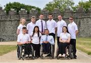 26 June 2018; Team Ireland was announced today by Paralympics Ireland for the World Para Swimming Allianz European Championships and the European Para Athletics Championships in Berlin. The European Swimming Championships will be hosted in Ireland for the first time ever at the Sport Ireland National Sports Campus from August 13-19th. In attendance are, back row, from left, Ellen Keane, Barry McClements, Brendan Griffin, Minister of State at the Department of Transport, Tourism and Sport, Jonathan McGrath, Sean O'Riordan and front row, from left, Patrick Flanagan, Nicole Turner, John Fulham, President of Paralympics Ireland and Ailbhe Kelly at Swords Castle in Swords, Co Dublin. Photo by David Fitzgerald/Sportsfile