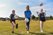 27 June 2018; Aoife Kane of Dublin, Bronagh  Redmond, aged 12, left, and Kim Ellis, aged 12, both from St Raphaels, Ballyfermot, were in Ballyfermot Sports Complex today at the AIG Heroes event, an initiative which helps support local grassroots communities by partnering with Dublin GAA and others to use sport as a means to build self-confidence and social skills in young kids. To further promote these efforts AIG Insurance gifted GAA equipment to primary schools in the area. Photo by Sam Barnes/Sportsfile