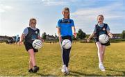 27 June 2018; Aoife Kane of Dublin, and Bronagh  Redmond, aged 12, and Kim Ellis, aged 12, from St Raphaels, Ballyfermot, were in Ballyfermot Sports Complex today at the AIG Heroes event, an initiative which helps support local grassroots communities by partnering with Dublin GAA and others to use sport as a means to build self-confidence and social skills in young kids. To further promote these efforts AIG Insurance gifted GAA equipment to primary schools in the area. Photo by Sam Barnes/Sportsfile