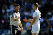 23 June 2018; Kildare manager Cian O'Neill and Peter Kelly before the GAA Football All-Ireland Senior Championship Round 2 match between Longford and Kildare at Glennon Brothers Pearse Park in Longford. Photo by Piaras Ó Mídheach/Sportsfile