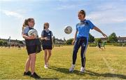 27 June 2018; Aoife Kane of Dublin, right, along with Halle McDonald, centre, and Bronagh Redmond, both aged 12, and both from St Raphaels, Ballyfermot, all were in Ballyfermot Sports Complex today at the AIG Heroes event, an initiative which helps support local grassroots communities by partnering with Dublin GAA and others to use sport as a means to build self-confidence and social skills in young kids. To further promote these efforts AIG Insurance gifted GAA equipment to primary schools in the area. Photo by Sam Barnes/Sportsfile