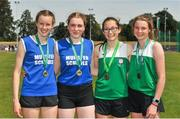 23 June 2018; Girls Pole Vault medallists, from left, Orla Coffey of Munster, silver, Anna Ryan of Munster, gold, and joint bronze positon, Grace Codd and Eabha McNally of Leinster, during the Irish Life Health Tailteann Games T&F Championships at Morton Stadium, in Santry, Dublin. Photo by Tomás Greally/Sportsfile