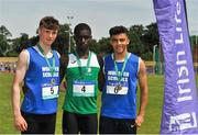 23 June 2018; Boys 100m medallists, from left, Cillian Griffin of Munster, silver, Israel Olatundle of Leinster, gold, and Cillian Griffin of Munster, bronze, during the Irish Life Health Tailteann Games T&F Championships at Morton Stadium, in Santry, Dublin. Photo by Tomás Greally/Sportsfile