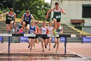 23 June 2018; Runners from left, Alex Murray of Leinster, Gavin Kenny of Munster and right, John Fanning of Leinster, take the water jump, during the Boys 1500m Steeplechase event, during the Irish Life Health Tailteann Games T&F Championships at Morton Stadium, in Santry, Dublin. Photo by Tomás Greally/Sportsfile