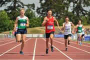 23 June 2018; Robert O'Domhnaill of Connaught, centre, leads, left, Ciaran McManus of Leinster and Austin Hargan of Ulster, on his way to winning the Boys 400m event, during the Irish Life Health Tailteann Games T&F Championships at Morton Stadium, in Santry, Dublin. Photo by Tomás Greally/Sportsfile