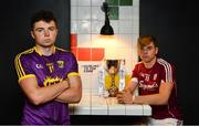 28 June 2018; Rory O'Connor of Wexford and Jack Canning of Galway were in Token Arcade, in Smithfield, Dublin today ahead of the Bord Gáis Energy GAA Hurling U-21 Munster and Leinster Finals. Wexford play Galway in O' Moore Park and Cork play Tipperary in Páirc Uí Chaoimh. Both games are scheduled to take place on Wednesday, July 4 with a 7.30pm throw-in. Fans can visit www.instagram.com/bgegaa for news, behind-the-scenes content and competitions over the course of the summer. See #HurlingToTheCore for more. Photo by Sam Barnes/Sportsfile