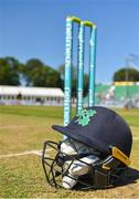 29 June 2018; A detailed view of an Irish batsman's helmet on the wicket prior to the T20 International match between Ireland and India at Malahide Cricket Club Ground in Dublin. Photo by Seb Daly/Sportsfile