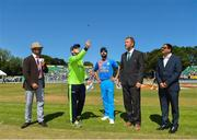 29 June 2018; Captains Gary Wilson of Ireland, second on left, and Virat Kohli of India, centre, and match referee Chris Broad, second right, during the toss prior to the T20 International match between Ireland and India at Malahide Cricket Club Ground in Dublin. Photo by Seb Daly/Sportsfile