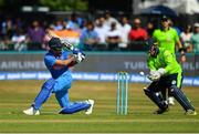 29 June 2018; Lokesh Rahul of India and Gary Wilson of Ireland in action during the T20 International match between Ireland and India at Malahide Cricket Club Ground in Dublin. Photo by Seb Daly/Sportsfile