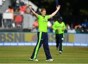 29 June 2018; Kevin O Brien of Ireland celebrates after claiming the wicket of Lokesh Rahul of India, caught and bowled, during the T20 International match between Ireland and India at Malahide Cricket Club Ground in Dublin. Photo by Seb Daly/Sportsfile
