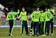 29 June 2018; Kevin O Brien of Ireland celebrates with team-mates after claiming the wicket of Lokesh Rahul of India, caught and bowled, during the T20 International match between Ireland and India at Malahide Cricket Club Ground in Dublin. Photo by Seb Daly/Sportsfile