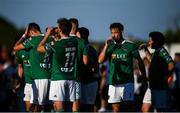 29 June 2018; Alan Bennett, second from right, and his Cork City team-mates during a first-half water break during the SSE Airtricity League Premier Division match between Dundalk and Cork City at Oriel Park in Dundalk, Louth. Photo by Stephen McCarthy/Sportsfile