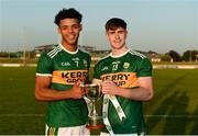29 June 2018; Kerry's Stefan Okunbor, EirGrid Man of the Match, left, and Donal O'Sullivan, team captain, with the cup after the EirGrid Munster GAA Football U20 Championship Final match between Kerry and Cork at Austin Stack Park in Tralee, Kerry. Photo by Piaras Ó Mídheach/Sportsfile