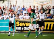 29 June 2018; Dundalk players Ronan Murray, left, and Chris Shields celebrate following the SSE Airtricity League Premier Division match between Dundalk and Cork City at Oriel Park in Dundalk, Louth. Photo by Stephen McCarthy/Sportsfile