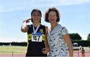 30 June 2018; Sophie O'Sullivan of Ballymore Cobh A.C. Co. Cork, with her mother Sonia O'Sullivan after finish second in the Junior Women 800m event  during the Irish Life Health National Junior & U23 T&F Championships at Tullamore Harriers Stadium in Tullamore, Offaly. Photo by Sam Barnes/Sportsfile