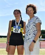 30 June 2018; Sophie O'Sullivan of Ballymore Cobh A.C. Co. Cork, with her mother Sonia O'Sullivan after finishing second in the Junior Women 800m event  during the Irish Life Health National Junior & U23 T&F Championships at Tullamore Harriers Stadium in Tullamore, Offaly. Photo by Sam Barnes/Sportsfile