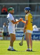 30 June 2018; Dermot Cathal of Kildare, left, and Keelan Molloy of Antrim following the Joe McDonagh Cup Relegation / Promotion play-off match between Antrim and Kildare at the Athletic Ground in Armagh. Photo by Seb Daly/Sportsfile