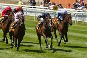 30 June 2018; Fleet Review, with Ryan Moore up, on their way to winning the Dubai Duty Free Jumeirah Creekside Dash Stakes from second place Intelligence Cross, left, with Donnacha O'Brien and third place Ardhoomey, right, with Colin Keane during day 2 of the Dubai Duty Free Irish Derby Festival at the Curragh Racecourse in Kildare. Photo by Matt Browne/Sportsfile