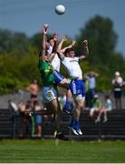 30 June 2018; Donal Wrynn of Leitrim in action against Karl O'Connell, left, and Darren Hughes of Monaghan during the GAA Football All-Ireland Senior Championship Round 3 match between Leitrim and Monaghan at Páirc Seán Mac Diarmada in Carrick-on-Shannon, Leitrim. Photo by Daire Brennan/Sportsfile