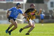 30 June 2018; Darragh Maher of Kilkenny in action against Conor Murray of Dublin during the Electric Ireland Leinster GAA Hurling Minor Conor Murray of Dublin Championship Final match between Dublin and Kilkenny at O'Moore Park in Portlaoise, Laois. Photo by Ray McManus/Sportsfile