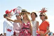 30 June 2018; Regina Horan from Malahide, Co Dublin, centre, winner of the best dressed lady competition with the other four finalists, from left Claire Murphy from Tralee Co Kerry, Eimear Cassidy from Drogheda, Co Louth, Caroline McParland from Co Armagh, Liz Maher from Co Carlow, at day 2 of the Dubai Duty Free Irish Derby Festival at the Curragh Racecourse in Kildare. Photo by Matt Browne/Sportsfile