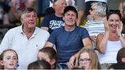 30 June 2018; Former Tipperary player Michael 'Babs' Keating, left, former jockey Johnny Murtagh, and Orla Murtagh, parents of Kildare player Lauren Murtagh during the GAA All-Ireland Minor A Ladies Football Semi-final match between Cork and Dublin at MacDonagh Park in Nenagh, Tipperary. Photo by Harry Murphy/Sportsfile